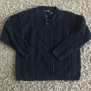 Structure Pullover Sweater - Navy Blue - Men's L